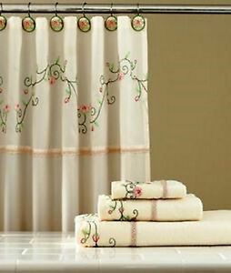 Image Is Loading Ainsley Ivory Floral Shower Curtain W Hooks Embroidered