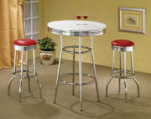50 S Retro Soda Fountain Bar Table And Red Bar Stool Set By Coaster