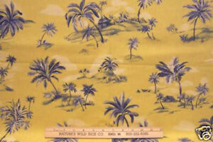 Tropical Palm Tree Fabric Shades Blue On Gold 4 Yards