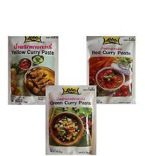3x Curry Paste orig. Tailandia Asia Food de especias 3 Afilar Salsa Juego