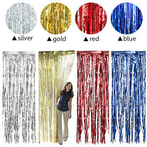 Uk foil party door curtain tinsel shimmer birthday wedding image is loading uk foil party door curtain tinsel shimmer birthday junglespirit Images
