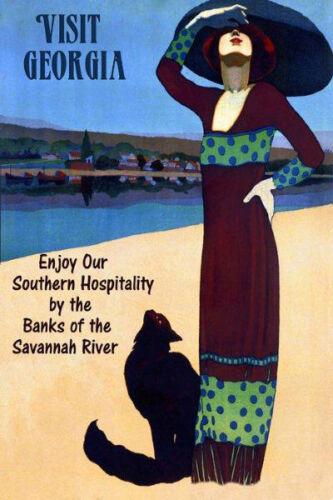 Visit Georgia Black Cat Savannah River Travel Large Vintage Poster Repro FREE SH