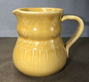 VTG Mid Century MANCER MANCIOLI Italian Pottery Pitcher Yellow Hand Painted