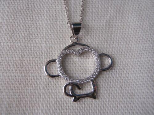 Sterling Silver Necklace Cute Monkey Pendant Design Pendant