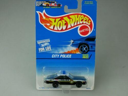 Hotwheels City Police Interceptor 5 Spoke serve and protect 622 1996 MOC 110830