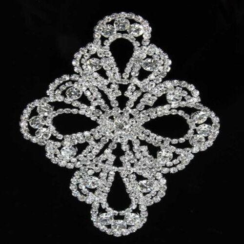 1 Pc Clair Cristal Strass Applique Bordure à Coudre pour Robe Artisanat Argent Or