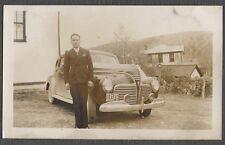 Vintage Car Photo Man w/ 1941 Plymouth Automobile 773043