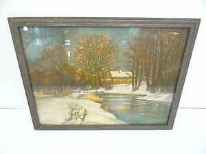 Colored-Print-Hans-Clatt-Made-in-Bavaria-Stream-House-Fall-Germany-Wall-Art