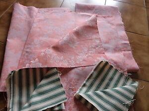 5 Coupons Tissus Toile A Matelas Rayure Et Fleurs / Couture/deco Loft Vintage