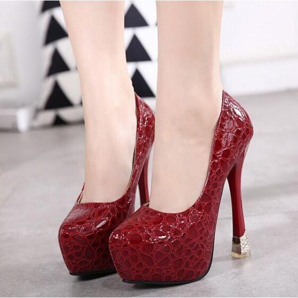 Decolte donna alti raffinati 15 plateau stiletto rosso  simil pelle CW167