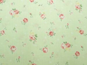 Cottage-Shabby-Chic-Lecien-Princess-Rose-Small-Roses-Fabric-Pale-Lime-BTY