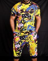 Men's Multi Pop Fun Print Short Sleeves T-shirt & Drop Crotch Shorts 2 Pc Set