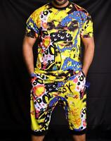 Men's Multi Pop Fun Print Short Sleeves T-shirt & Drop Crotch Shorts 2 Pc Set