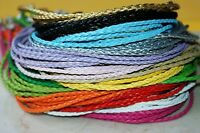 3mm 20pcs Mix Colour Braided Leather Cord Necklace String Chain + Lobster Clasp