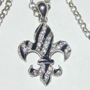 Black-enamel-clear-rhinestone-crystal-fleur-de-lis-silver-tone-pendant-necklace
