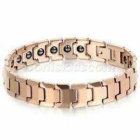Mens Classic Rose Gold Tone Tungsten Carbide Magnetic Health Bracelet Chain Link