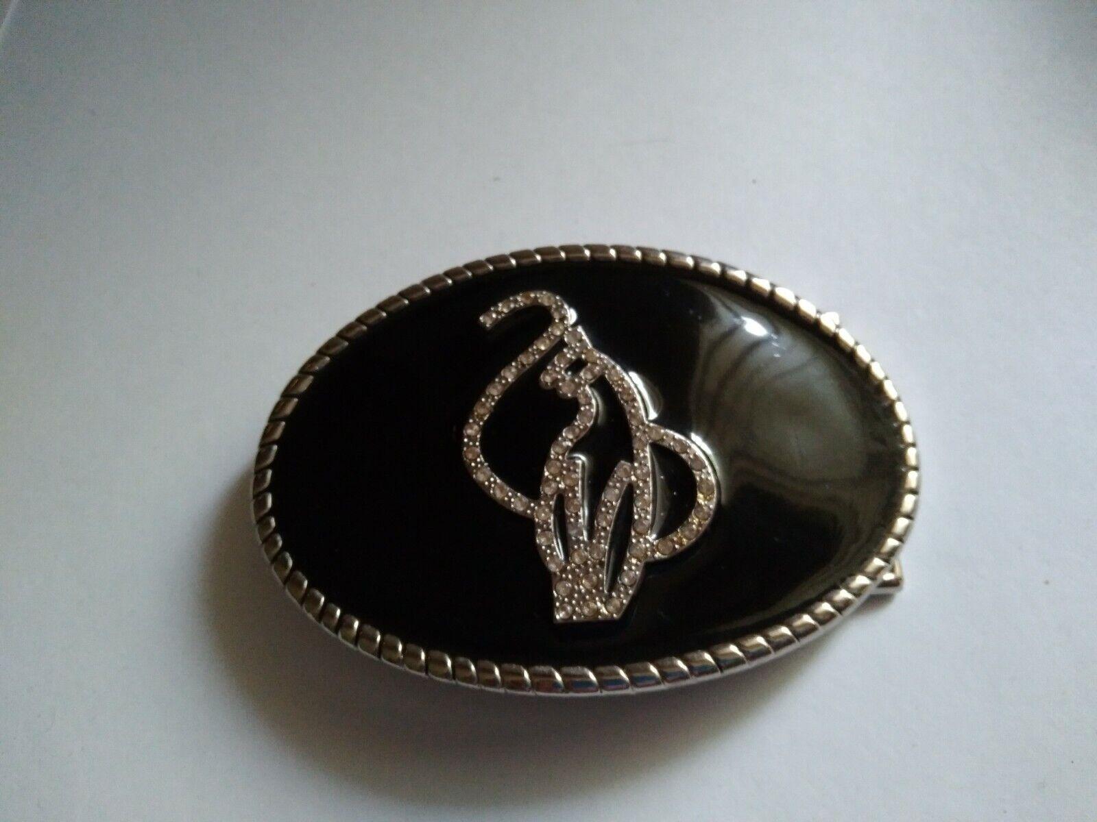 Baby Phat Siamese Cat Logo Rhinestone Black enamel Belt Buckle Bling