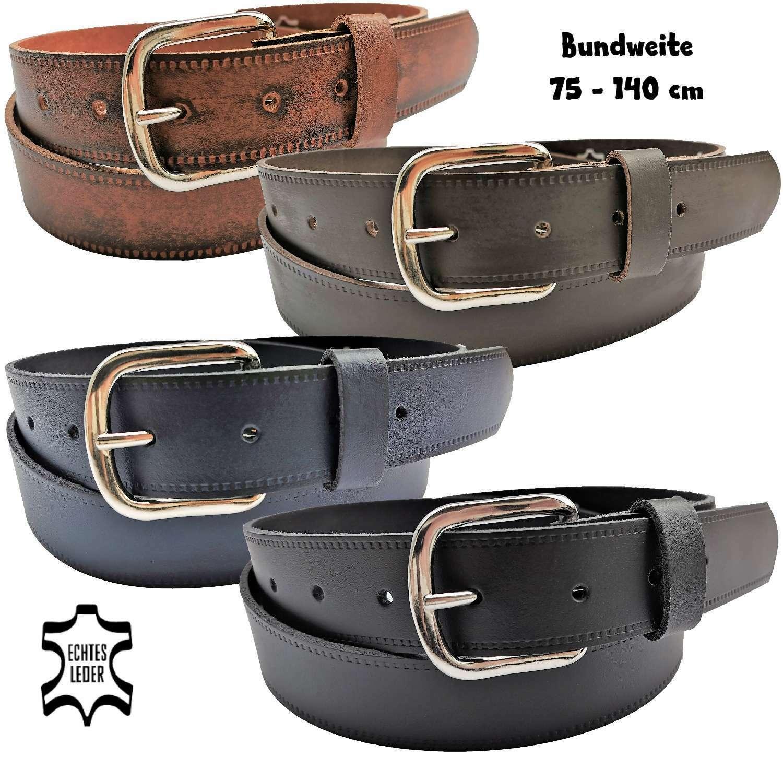 Leather Belt Genuine Leather Belt Side Embossed Ladies Mens 4 Colours 3,5 cm XS-XXXL