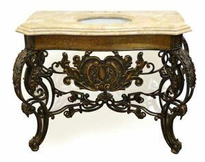 51-034-Italian-Acanthus-Iron-Single-Bathroom-Vanity-Marble-Top-Sink-amp-Brass-Accents