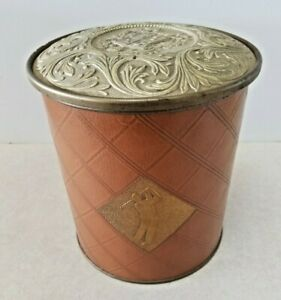 Guildcraft Ornate Cookie Sewing Tin Red /& Gold Filigree Metal ware New York USA