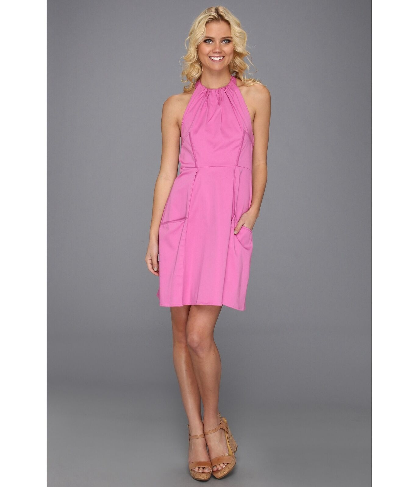 Jessica Simpson  Sleeveless  Women's Size 8 Halter Dress Super Pink