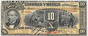 Mexico-10-Pesos-ND-19xx-Series-F-Specimen-Uncirculated-Banknote