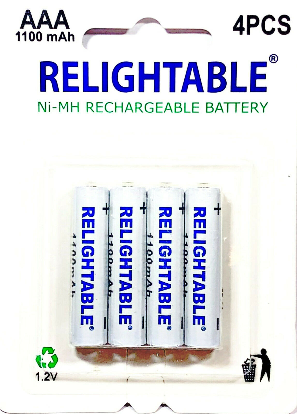 RELIGHTABLE 4-PACK AAA 1100mAh 1.2V Ni-MH Rechargeable Batteries Ready2Use Y4