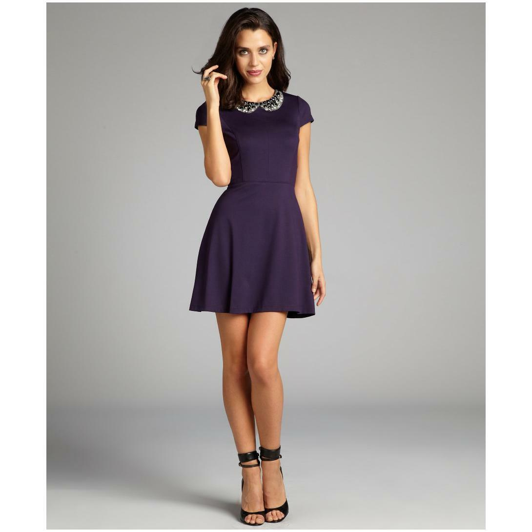 NWT  Ali Ro purple jewel collar cap sleeve flare dress - Size 8