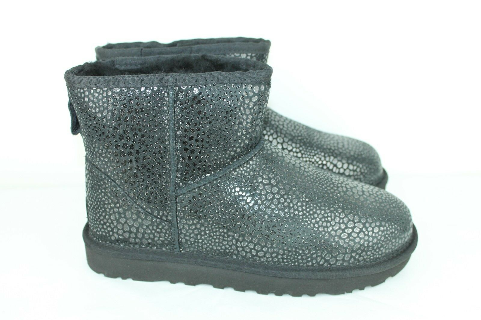 00e69eeb2f1 UGG Australia Womens Classic Mini Glitzy Ankle BOOTS Black Leather Size 8