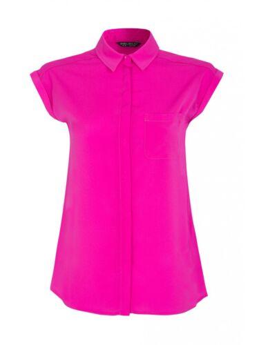 Seleccione Manga Corta Georgette Camisa Top Blusa Tallas 6-18 BNWT Magenta rosado
