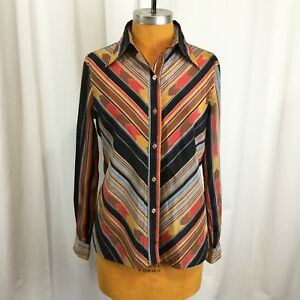 Vintage-Lady-Manhattan-Womens-Top-Button-Front-Aztec-Western-Blouse-Size-L