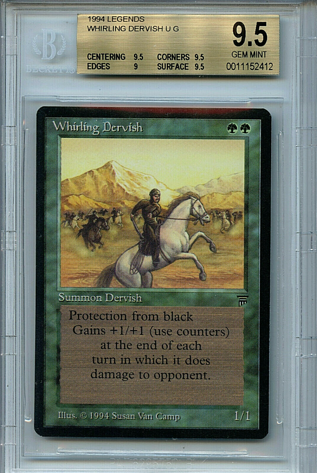 MTG Legends Whirling Dervish BGS 9.5 Gem Mint card Magic Amricons 2412