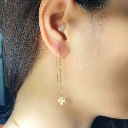 Details about  /Solid 14K Yellow Gold Long Dangle Threader Women Earrings Four Leaf Clover Sale