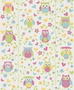 Flores Bonitas Búhos Infantil Cuarto Del Bebé Papel Pintado 459104
