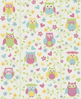 PRETTY FLOWERS OWLS CHILDRENS BOYS GIRLS KIDS NURSERY WALLPAPER 459104 RASCH