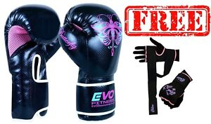 Evo Fitness Ladies Pink GEL Boxing Gloves MMA Punch Bag Leather ... 23b59d823b03b
