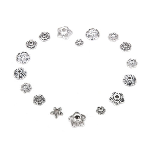 60g//250pcs Antiqued Silver Hollow Flower End Bead Caps For Jewelry Craft DIY JB
