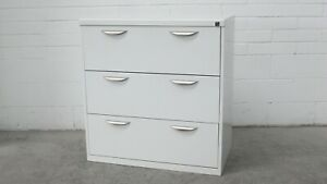 Office-Home-Garage-Lateral-Filing-Cabinet-3-Drawer-White-Metal-41312-4