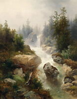 HD Canvas Print Valley waterfall Landscape Oil painting Printed on canvas P584