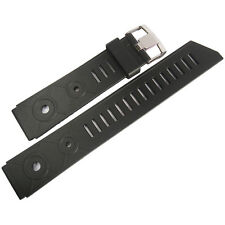 20mm Bonetto Cinturini 281 Mens Black Rubber Made in Italy Dive Watch Band Strap