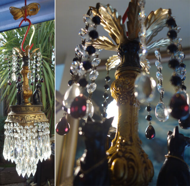Halloween decor Black Egyptian CAT Lamp Chandelier brass Beaded crystal prism
