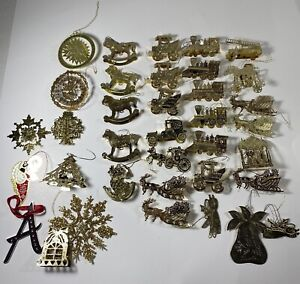 Vintage-Thin-Gold-Brass-Lot-of-36-Christmas-Ornaments