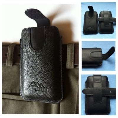 ASSEM echt Leder Handy Tasche Etui Hülle Case Cover Bumper Silikon Gürteltasche