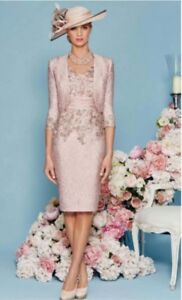 Mother-of-the-Bride-Groom-Dresses-Jacket-3-4-Sleeve-Knee-Length-2-Pieces-Elegant