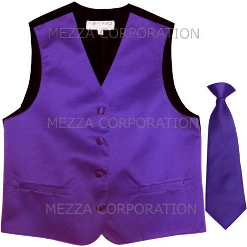 New Kids Boys Formal Tuxedo Vest Necktie Purple US Sizes 2-14 Wedding Party