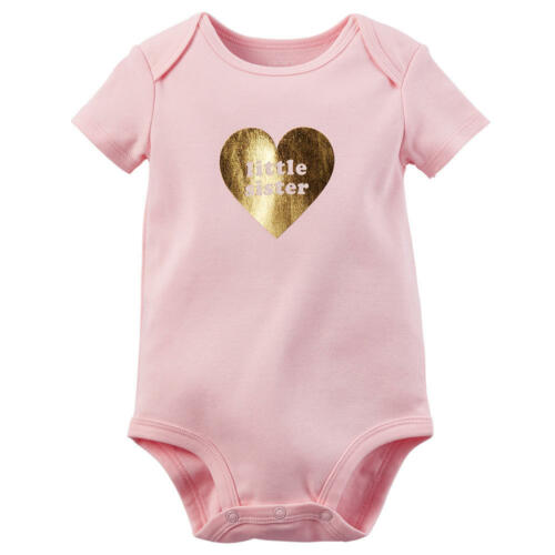 Carter/'s Little Sister Short Sleeve Bodysuit Pink Gold Heart
