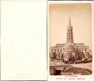 France-Toulouse-Abside-de-l-039-eglise-Saint-Sernin-Vintage-CDV-albumen-carte