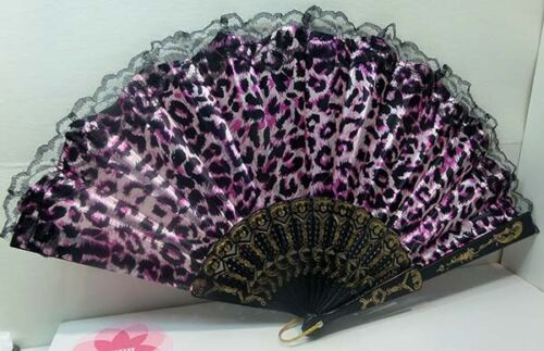 chinese folding hand fan great for summer outings design #4  pink leopard