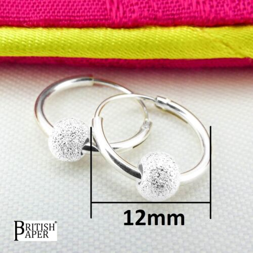 NEW 925 STERLING SILVER HOOP EARRINGS WITH BALL BEADS SOLID CLIP NOSE SMALL RING