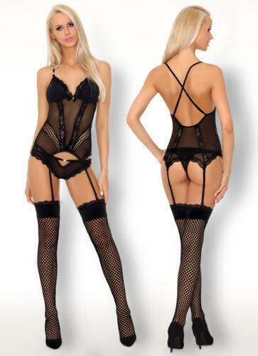 LIVCO CORSETTI Korinna Luxury Sheer Corset Stockings and Matching Thong Set